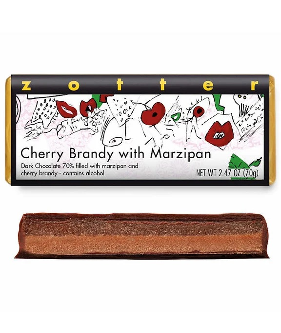 Cherry Brandy with Marzipan Bar by Zotter