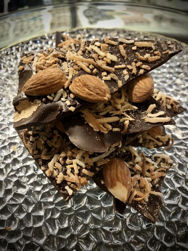 Dark Chocolate Almond and Toasted Coconut Bark